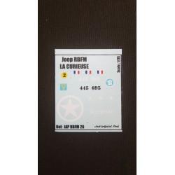 Décals 2DB - JapModels 2 DB - JEEP - LA CURIEUSE - Echelle 1/35