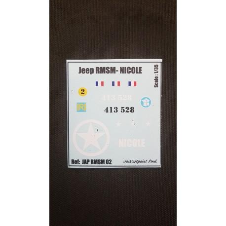 Décals 2 DB- JapModels - JEEP - NICOLE - Echelle 1/35