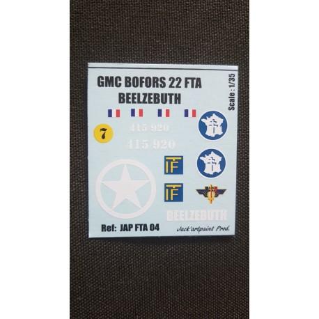 Décals 2 DB - JapModels - GMC BOFORS - BEELZEBUTH - Echelle 1/35