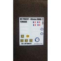 Décals 2 DB - JapModels - M7 PRIEST - TEMARA - Echelle 1/35