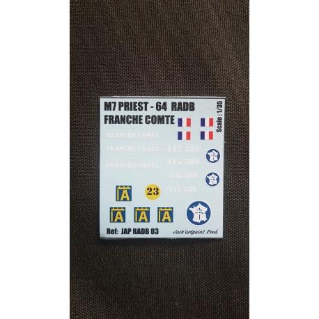 Décals 2 DB - JapModels - M7 PRIEST - FRANCHE COMPTE - Echelle 1/35