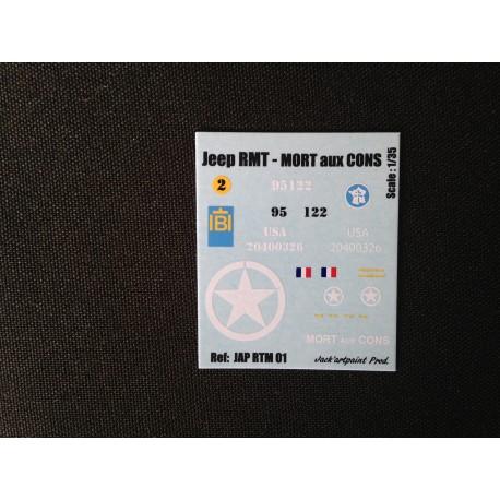 Décals 2 DB - JapModels - JEEP - MORT AUX CONS - Echelle 1/35