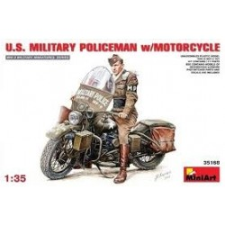 Figurine - MINI ART - US MILITARY POLICEMAN W/MOTORCYCLE - Echelle 1/35