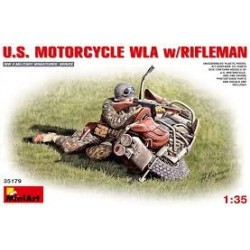 Figurine - MINI ART - US MOTORCYCLE WLA W/RIFLEMAN - Echelle 1/35