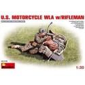 Figurine - MINI ART - US MOTORCYCLE WLA W/RIFLEMAN - Echelle 1/35
