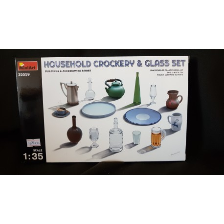 Figurine - MINI ART - HOUSEHOLD CROCKERY & GLASS SET - Echelle 1/35