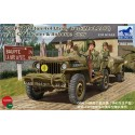 Maquette + Figurine - BRONCO - US 1/4 TON 4X4 TRUCK & TRAILER & AIRBORN CREW - Echelle 1/35