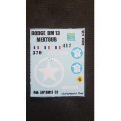 Décals 2 DB - JapModels - DODGE - MEKTOUB - Echelle 1/35