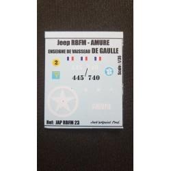 Décals 2 DB - JapModels - JEEP - AMURE - DE GAULLE - Echelle 1/35