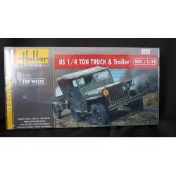 Maquette - Heller - US 1/4 TON TRUCK & TRAILLER - Echelle 1/35