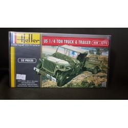 Maquette - HELLER - US 1/4 TON TRUCK & TRAILER - Echelle 1/72