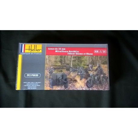 MAQUETTE FIGURINE HELLER - CANON 25- MITRAILLEUSE HOTCHKISS - SIDE CAR - ECH 1/35 - REF 81102