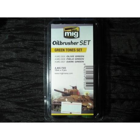 PEINTURE MIG - OILBRUSCHER -GREEN TONES SET -REF A-MIG-7502
