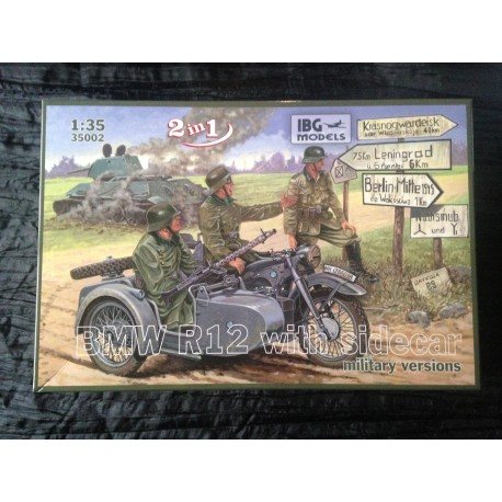 MAQUETTE IBG MODEL - ECH 1/35 - BMW R12 SIDE CAR - REF 35002 - WWII - GERMAN ARMY