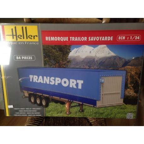 MAQUETTE HELLER - ECH 1/24 - REMORQUE TRAILER SAVOYARDE- REF 80771 -TRAILER