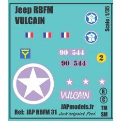 Décals 2DB - JAPMODELS - JEEP VULCAIN - JAP RBFM 31 - Echelle 1/35