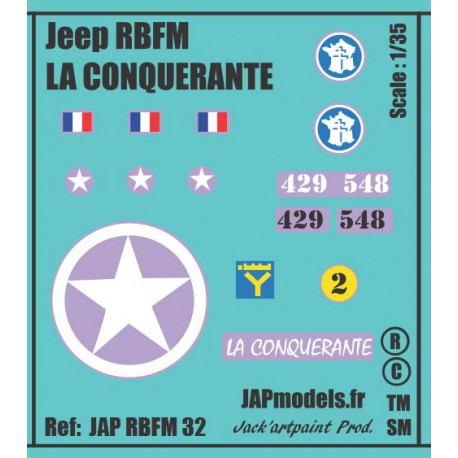 Décals 2DB - JAPMODELS - JEEP LA CONQUERANTE - JAP RBFM 32 - Echelle 1/35