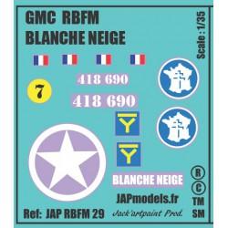 Décals 2DB - JAPMODELS - GMC BLANCHE NEIGE - JAP RBFM 29 - Echelle 1/35