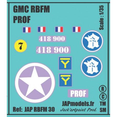 Décals 2DB - JAPMODELS - GMC - PROF - JAP RBFM 30 - Echelle 1/35