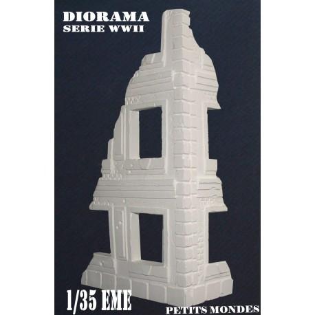DIORAMA MAQUETTE RUINE angle de rue avec étage à peindre 1/35