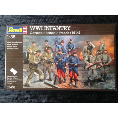 MAQUETTE FIGURINES REVELL - WWI INFANTRY- GERMAN - BRITISH - FRENCH - ECH 1/35 - REF 02451