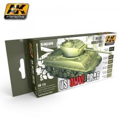 PEINTURE AK - SET MODULATION - US OILVE DRAB - AK 131