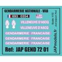MAQUETTE JAPMODELS- DECALCOMANIES - GENDARMERIE PREVOTE - VILLENEUVE D'ASCQ - SCALE 1/72 - REF :JAP GEND 7201