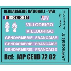 MAQUETTE JAPMODELS- DECALCOMANIES - GENDARMERIE PREVOTE - VILLOFRIGO - SCALE 1/72 - REF :JAP GEND 7202