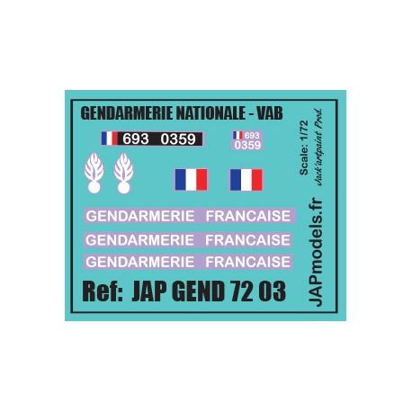 MAQUETTE JAPMODELS- DECALCOMANIES - GENDARMERIE PREVOTE - VAB 4X4 - SCALE 1/72 - REF :JAP GEND 7203