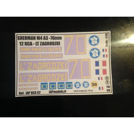 MAQUETTE DECALS - 12 RCA - LT ZAGRODZKI - ECH 1/35
