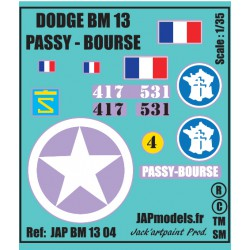 Décals 2 DB - JapModels - DODGE - PASSY BOURSE- Echel le 1/35 - REF JAP BM13 04