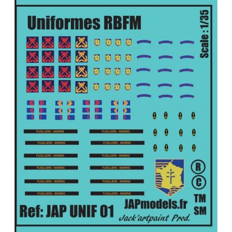 MAQUETTE DECALS - UNIFORMES - RBFM - ECH 1/35
