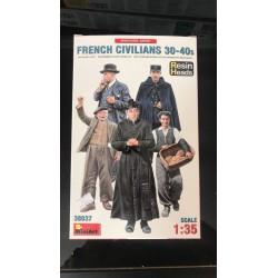MAQUETTE FIGURINE - MINI ART - FRENCH CIVILIANS 30-40 RESIN HEAD - REF JAP MIN 38037 - ECH 1/35
