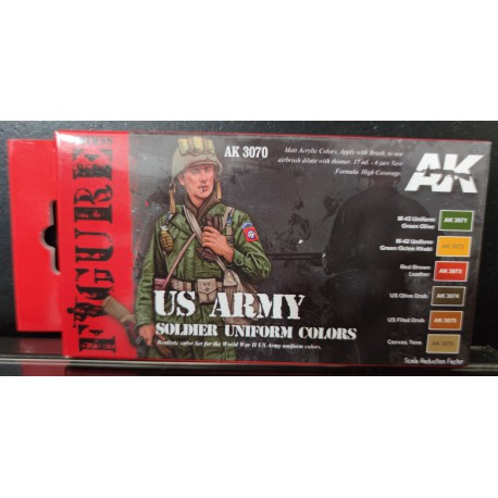 MAQUETTE PEINTURE AK FIGURE - TEINTE US ARMY -AK 3070 - DIORAMA - TAMIYA ITALERI HELLER BRONCO