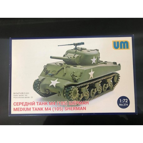 MAQUETTE UM - SHERMAN M4 105 - REF JAP UM 374 - ECH 1/72