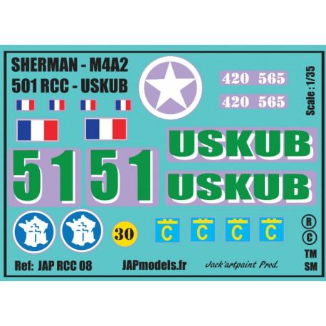 Décals 2 DB - JapModels - SHERMAN USKUB - 501 RCC - Echelle 1/35