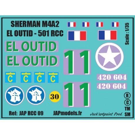 Décals 2 DB - JapModels - SHERMAN EL OUTID - 501 RCC - Echelle 1/35