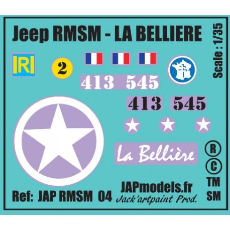 Décals 2 DB - JapModels - JEEP - LA BELLIERE - RMSM - Echelle 1/35