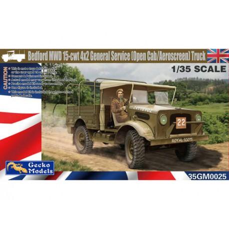MAQUETTE GECKO MODELS - Bedford MWD 15cwt 4x2 General Service Open Cab Aeroscreen Truck