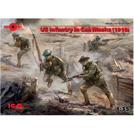 US Infantry in Gas Masks 1918 4 figures 1/35