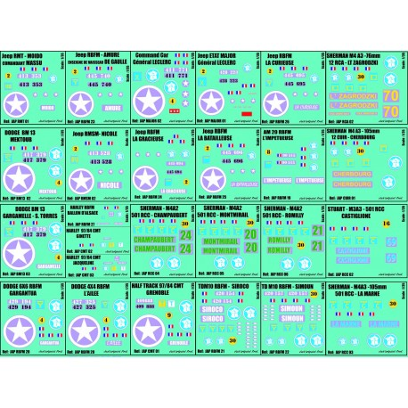 PLANCHE DECALS NOEL 1/35 - 26 immatriculations