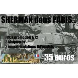 PACK SERIE LIMITE LES 3 SHERMAN DANS PARIS ECHELLE 1/72