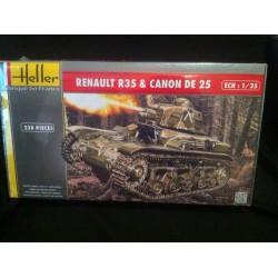 Maquette - HELLER - CHAR RENAULT R35 et CANON DE 25 - Echelle 1/35