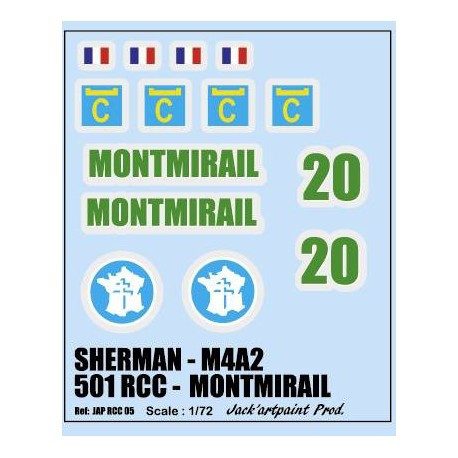 decals 1/72 SHERMAN - MONTMIRAIL