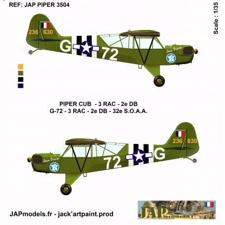 PACK AVIATION 2 DB - PIPER CUB- 3 RAC 72 G -MAQUETTE ET PLANCHE DECALS - ECH 1/35