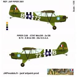 PACK AVIATION 2 DB - PIPER CUB- EM- 72 B -MAQUETTE ET PLANCHE DECALS - ECH 1/35