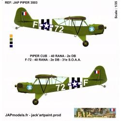 PACK AVIATION 2 DB - PIPER CUB- 40 RANA- 72 F -MAQUETTE ET PLANCHE DECALS - ECH 1/35