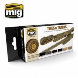 MAQUETTE SET PEINTURE MIG 7105 -TIRES & TRACKS
