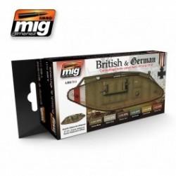 MAQUETTE SET PEINTURE MIG 7111 -BRITISH & GERMAN 1914 A 1918